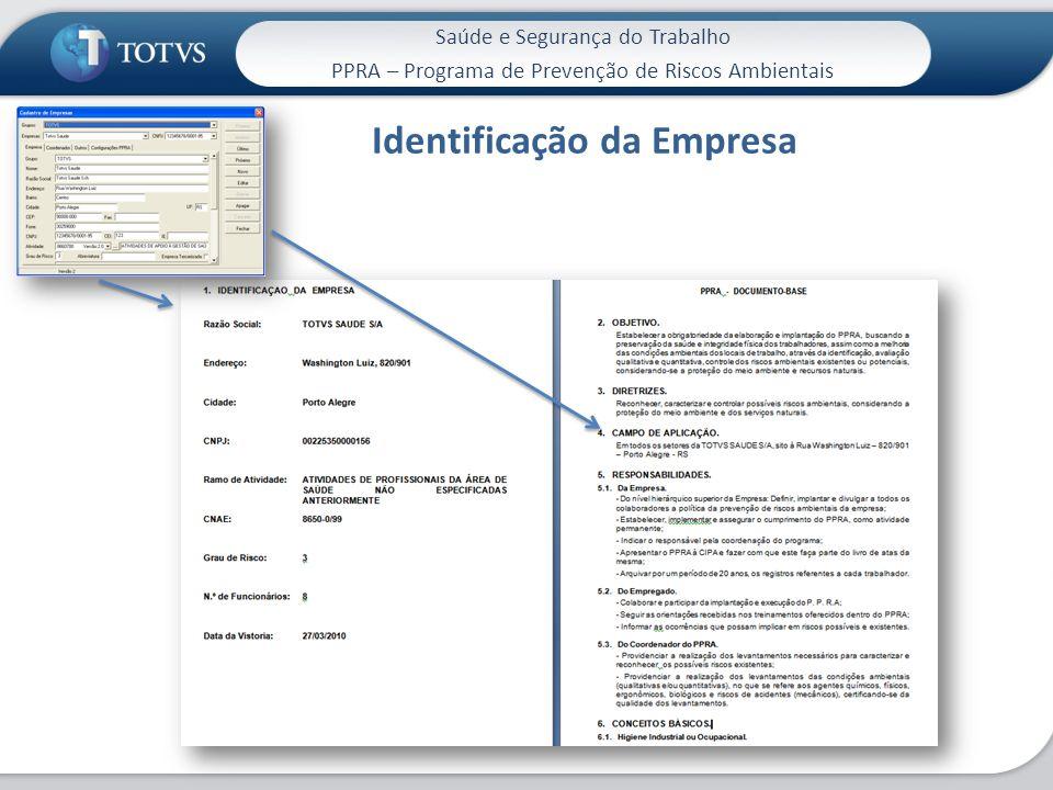 Saúde e Segurança do Trabalho PPRA – Programa de Prevenção de Riscos Ambientais Identificação da Empresa