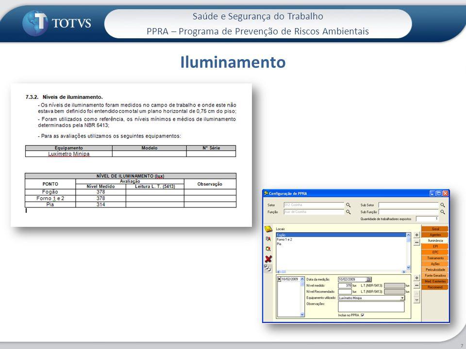 Saúde e Segurança do Trabalho PPRA – Programa de Prevenção de Riscos Ambientais Iluminamento 7