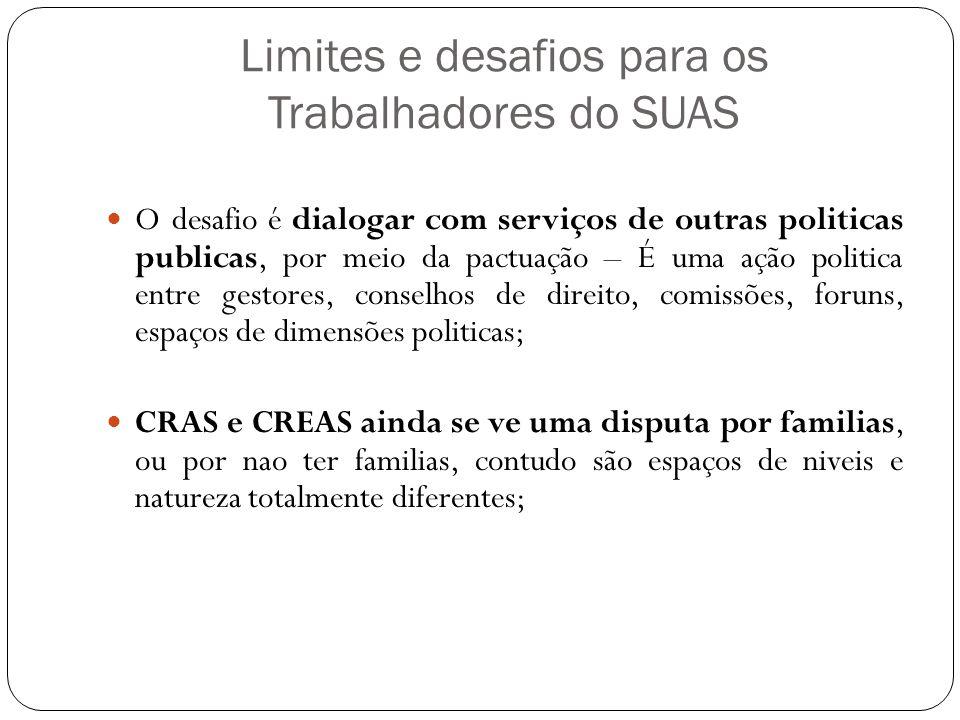 Limites e desafios para os Trabalhadores do SUAS O desafio é dialogar com serviços de outras politicas publicas, por meio da pactuação – É uma ação po