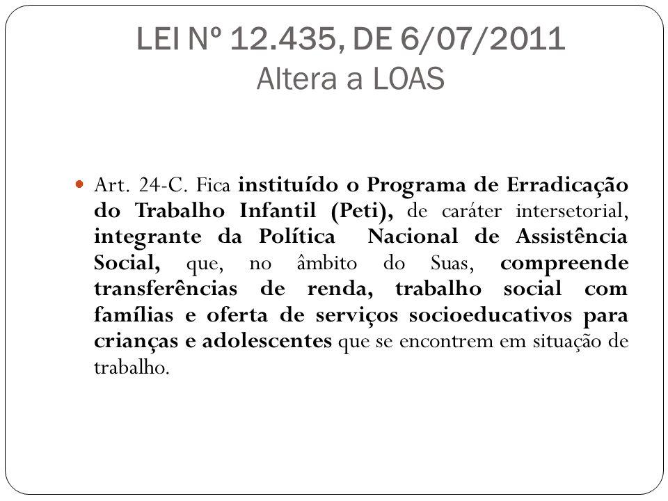 LEI Nº 12.435, DE 6/07/2011 Altera a LOAS Art. 24-C. Fica instituído o Programa de Erradicação do Trabalho Infantil (Peti), de caráter intersetorial,
