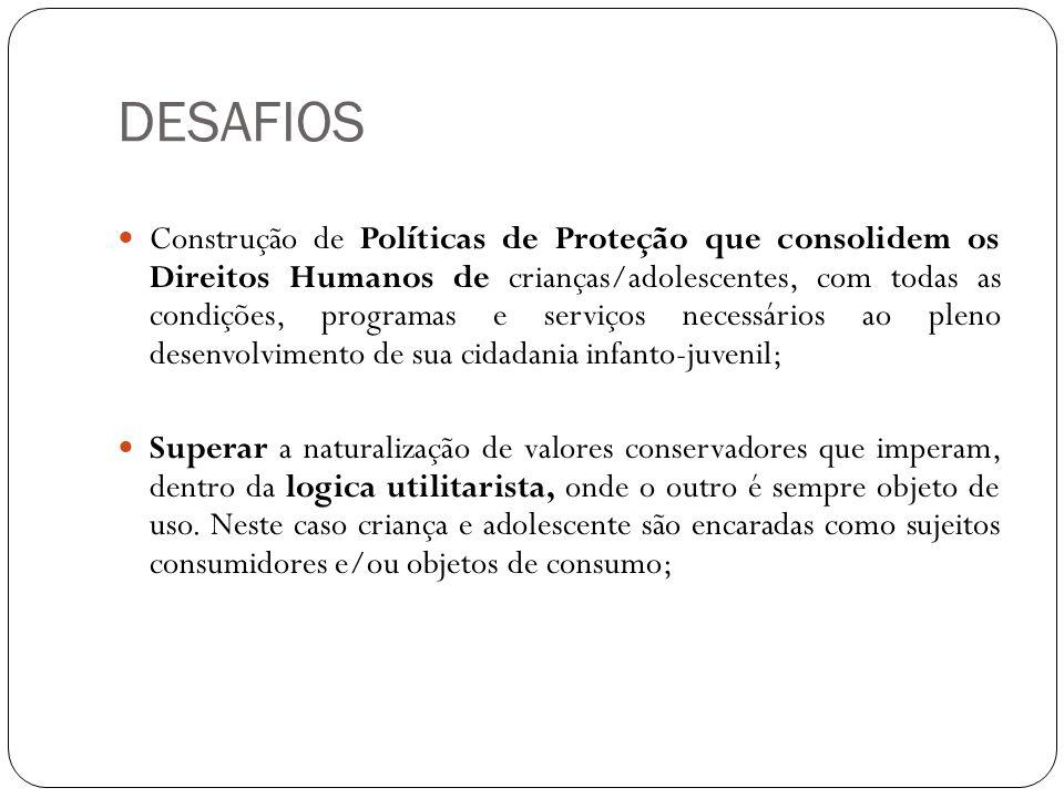 DESAFIOS Construção de Políticas de Proteção que consolidem os Direitos Humanos de crianças/adolescentes, com todas as condições, programas e serviços