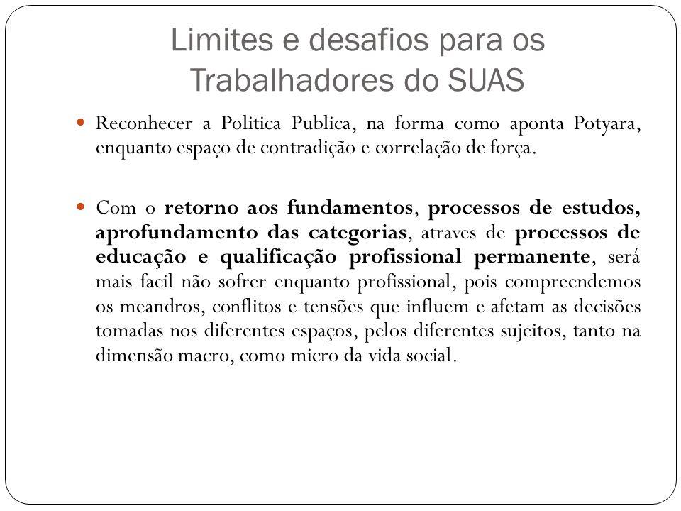 Limites e desafios para os Trabalhadores do SUAS Reconhecer a Politica Publica, na forma como aponta Potyara, enquanto espaço de contradição e correlação de força.