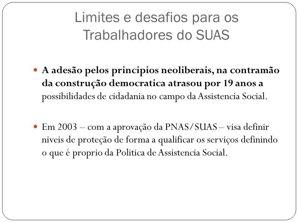 Limites e desafios para os Trabalhadores do SUAS A adesão pelos principios neoliberais, na contramão da construção democratica atrasou por 19 anos a p