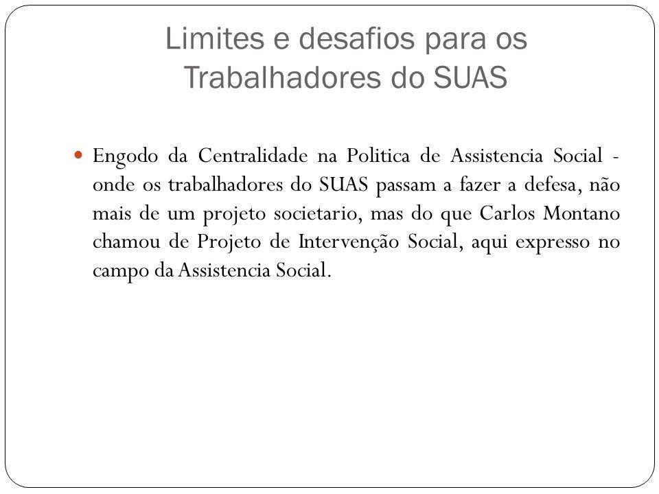 Limites e desafios para os Trabalhadores do SUAS Engodo da Centralidade na Politica de Assistencia Social - onde os trabalhadores do SUAS passam a faz