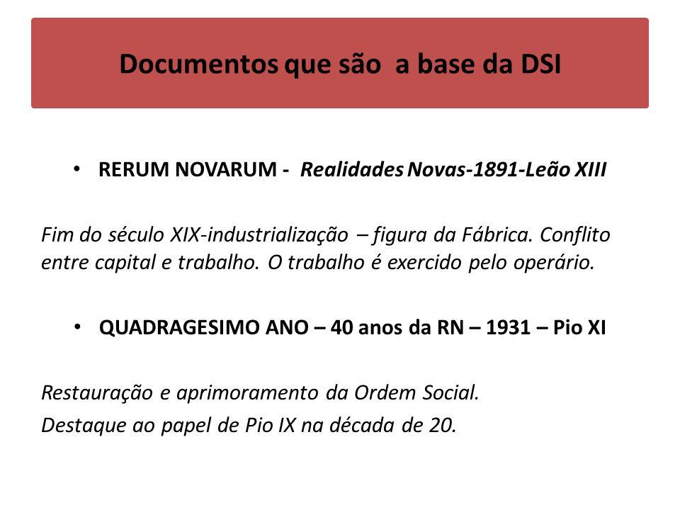 Documentos que são a base da DSI RERUM NOVARUM - Realidades Novas-1891-Leão XIII Fim do século XIX-industrialização – figura da Fábrica.