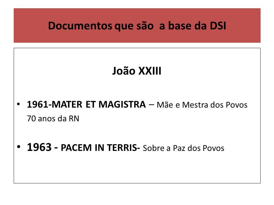 Documentos que são a base da DSI João XXIII 1961-MATER ET MAGISTRA – Mãe e Mestra dos Povos 70 anos da RN 1963 - PACEM IN TERRIS- Sobre a Paz dos Povos