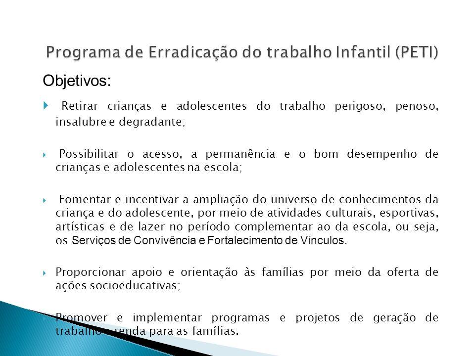 Objetivos: Retirar crianças e adolescentes do trabalho perigoso, penoso, insalubre e degradante; Possibilitar o acesso, a permanência e o bom desempen