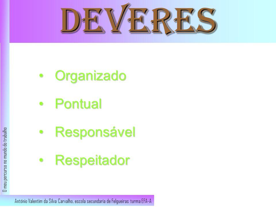 Deveres OrganizadoOrganizado PontualPontual ResponsávelResponsável RespeitadorRespeitador António Valentim da Silva Carvalho, escola secundaria de Fel