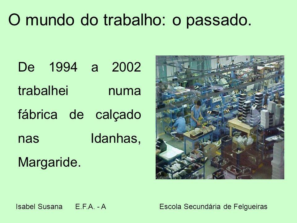 O mundo do trabalho: o passado. De 1994 a 2002 trabalhei numa fábrica de calçado nas Idanhas, Margaride. Isabel SusanaE.F.A. - A Escola Secundária de