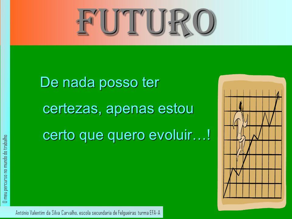 futuro De nada posso ter certezas, apenas estou certo que quero evoluir…! De nada posso ter certezas, apenas estou certo que quero evoluir…! António V