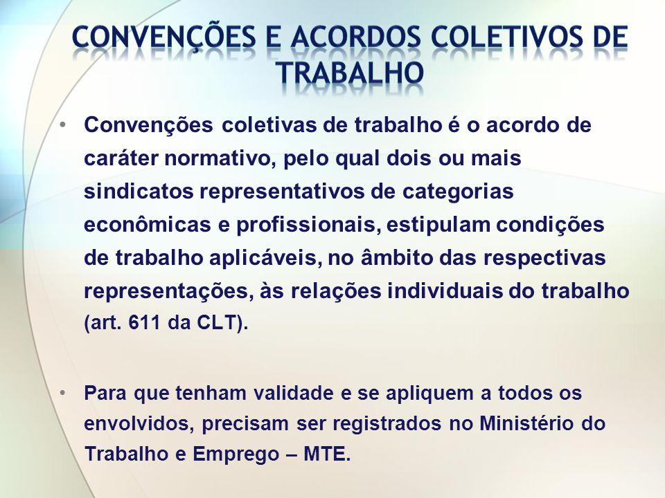 Convenções coletivas de trabalho é o acordo de caráter normativo, pelo qual dois ou mais sindicatos representativos de categorias econômicas e profissionais, estipulam condições de trabalho aplicáveis, no âmbito das respectivas representações, às relações individuais do trabalho (art.