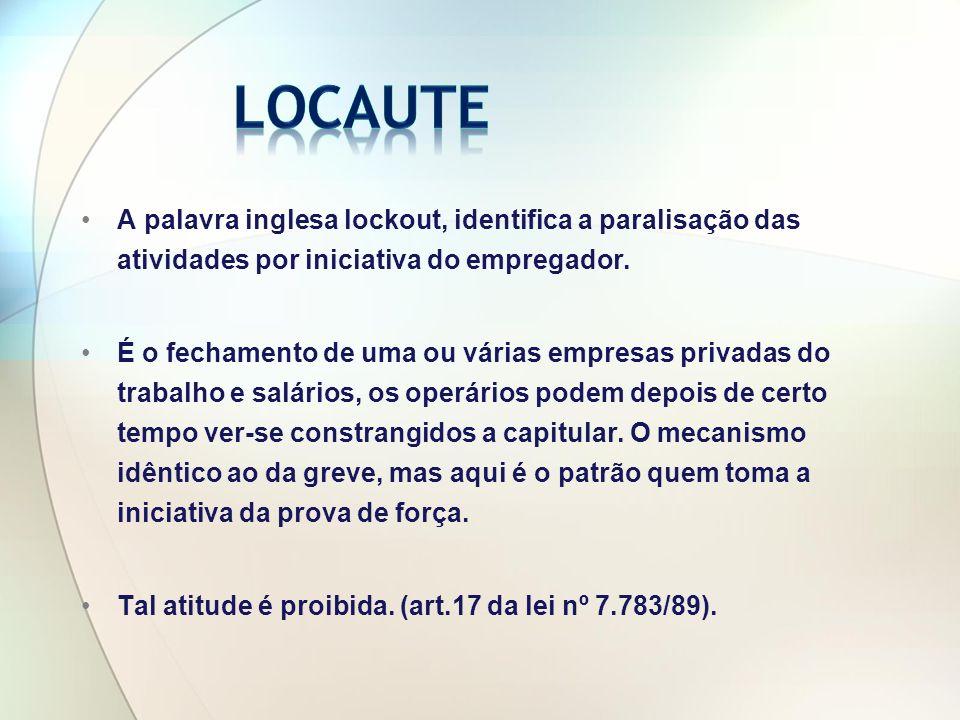 A palavra inglesa lockout, identifica a paralisação das atividades por iniciativa do empregador.