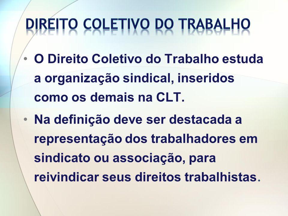 O Direito Coletivo do Trabalho estuda a organização sindical, inseridos como os demais na CLT.
