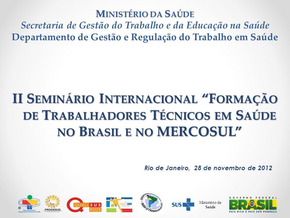 II S EMINÁRIO I NTERNACIONAL F ORMAÇÃO DE T RABALHADORES T ÉCNICOS EM S AÚDE NO B RASIL E NO MERCOSUL Rio de Janeiro, 28 de novembro de 2012 M INISTÉR