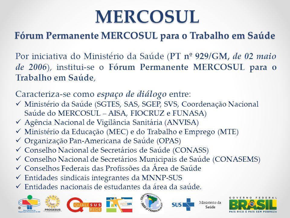 Por iniciativa do Ministério da Saúde (PT nº 929/GM, de 02 maio de 2006), institui-se o Fórum Permanente MERCOSUL para o Trabalho em Saúde, Caracteriza-se como espaço de diálogo entre: Ministério da Saúde (SGTES, SAS, SGEP, SVS, Coordenação Nacional Saúde do MERCOSUL – AISA, FIOCRUZ e FUNASA) Agência Nacional de Vigilância Sanitária (ANVISA) Ministério da Educação (MEC) e do Trabalho e Emprego (MTE) Organização Pan-Americana de Saúde (OPAS) Conselho Nacional de Secretários de Saúde (CONASS) Conselho Nacional de Secretários Municipais de Saúde (CONASEMS) Conselhos Federais das Profissões da Área de Saúde Entidades sindicais integrantes da MNNP-SUS Entidades nacionais de estudantes da área da saúde.