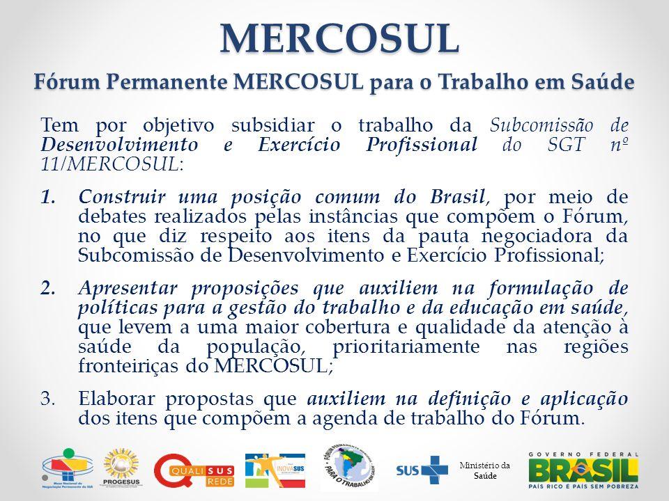 Ministério da Saúde MERCOSUL MERCOSUL Fórum Permanente MERCOSUL para o Trabalho em Saúde Tem por objetivo subsidiar o trabalho da Subcomissão de Desenvolvimento e Exercício Profissional do SGT nº 11/MERCOSUL: 1.Construir uma posição comum do Brasil, por meio de debates realizados pelas instâncias que compõem o Fórum, no que diz respeito aos itens da pauta negociadora da Subcomissão de Desenvolvimento e Exercício Profissional; 2.Apresentar proposições que auxiliem na formulação de políticas para a gestão do trabalho e da educação em saúde, que levem a uma maior cobertura e qualidade da atenção à saúde da população, prioritariamente nas regiões fronteiriças do MERCOSUL; 3.Elaborar propostas que auxiliem na definição e aplicação dos itens que compõem a agenda de trabalho do Fórum.