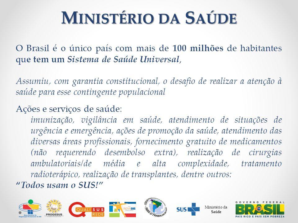 M INISTÉRIO DA S AÚDE O Brasil é o único país com mais de 100 milhões de habitantes que tem um Sistema de Saúde Universal, Assumiu, com garantia const