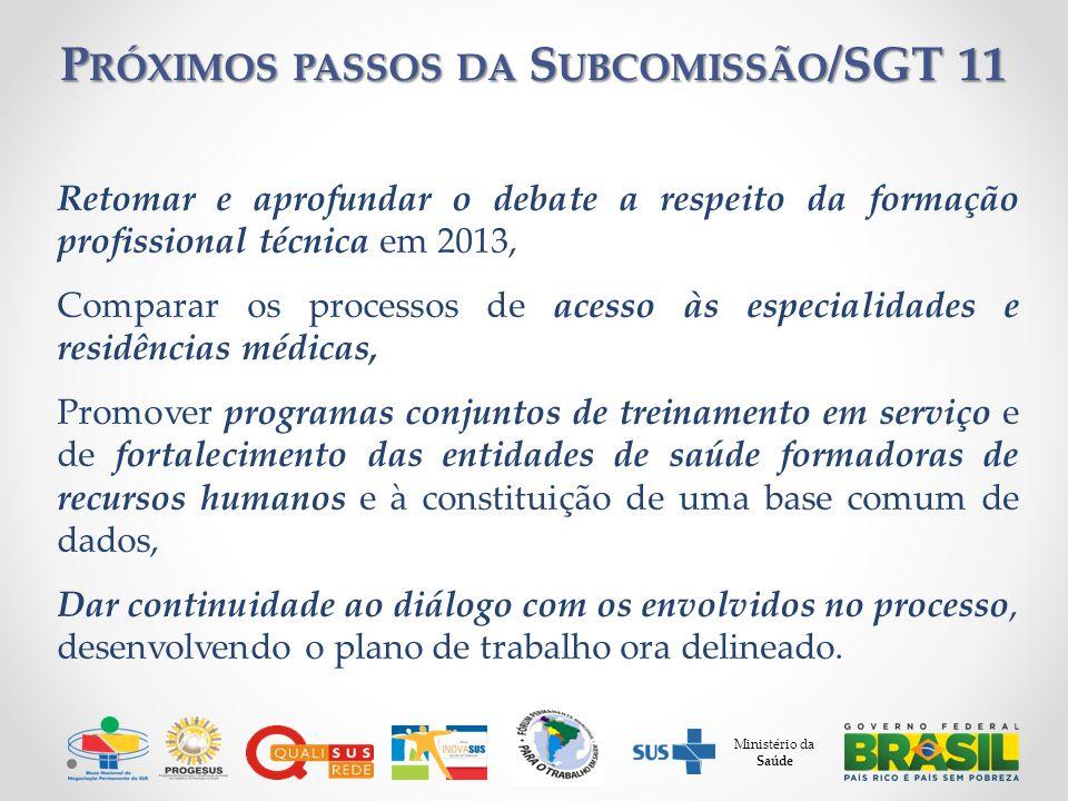 Retomar e aprofundar o debate a respeito da formação profissional técnica em 2013, Comparar os processos de acesso às especialidades e residências méd