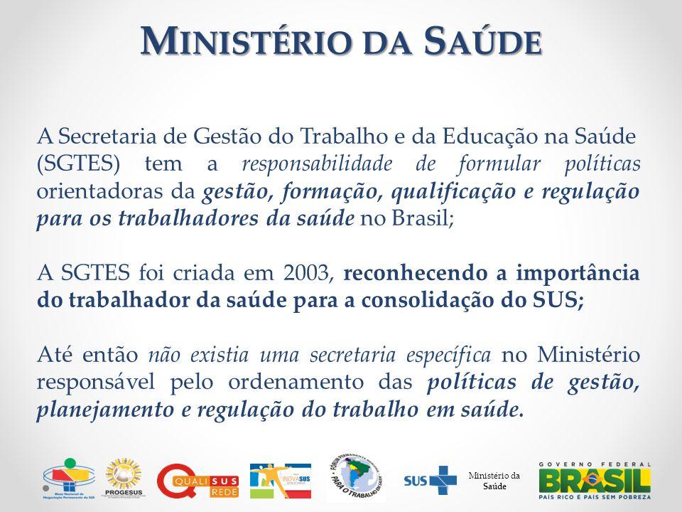 A Secretaria de Gestão do Trabalho e da Educação na Saúde (SGTES) tem a responsabilidade de formular políticas orientadoras da gestão, formação, quali