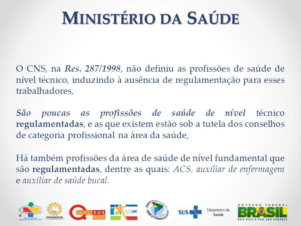 M INISTÉRIO DA S AÚDE O CNS, na Res. 287/1998, não definiu as profissões de saúde de nível técnico, induzindo à ausência de regulamentação para esses
