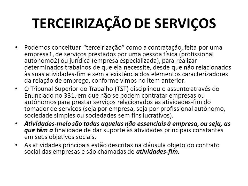 TERCEIRIZAÇÃO DE SERVIÇOS Podemos conceituar terceirização como a contratação, feita por uma empresa1, de serviços prestados por uma pessoa física (pr