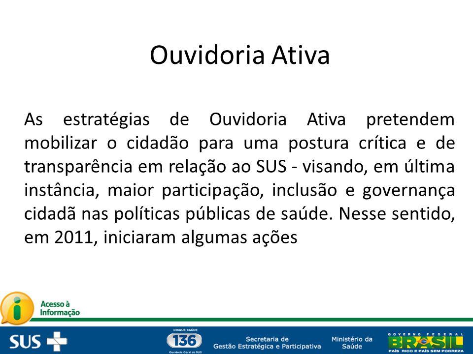 As estratégias de Ouvidoria Ativa pretendem mobilizar o cidadão para uma postura crítica e de transparência em relação ao SUS - visando, em última ins