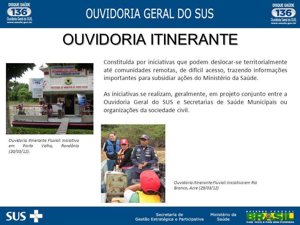 Ouvidoria Itinerante Fluvial: iniciativa em Porto Velho, Rondônia (20/03/12). Constituída por iniciativas que podem deslocar-se territorialmente até c