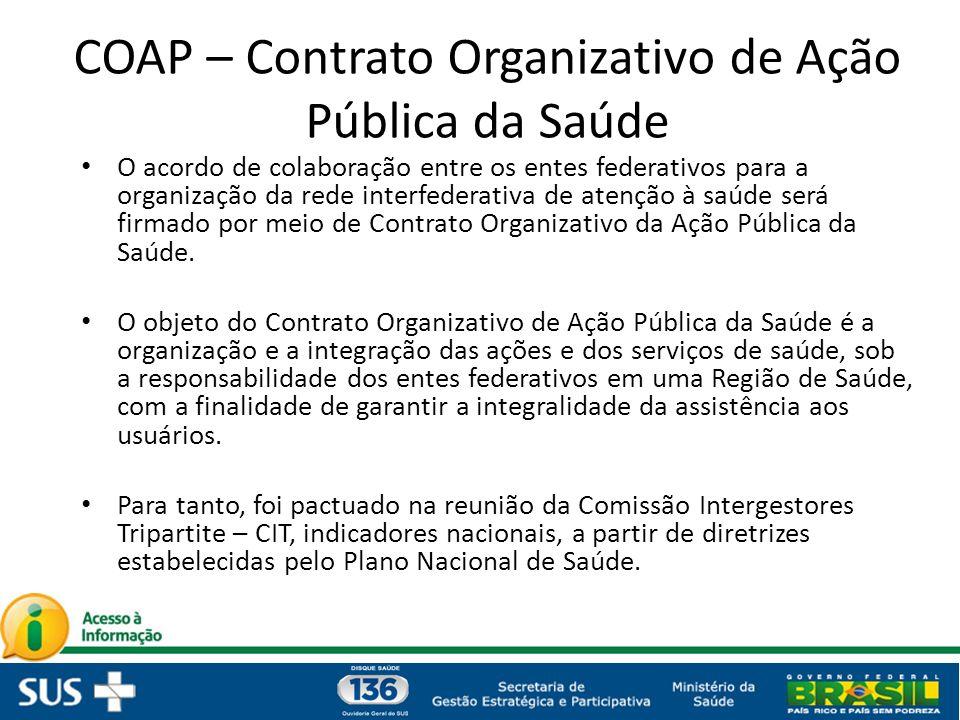 COAP – Contrato Organizativo de Ação Pública da Saúde O acordo de colaboração entre os entes federativos para a organização da rede interfederativa de atenção à saúde será firmado por meio de Contrato Organizativo da Ação Pública da Saúde.