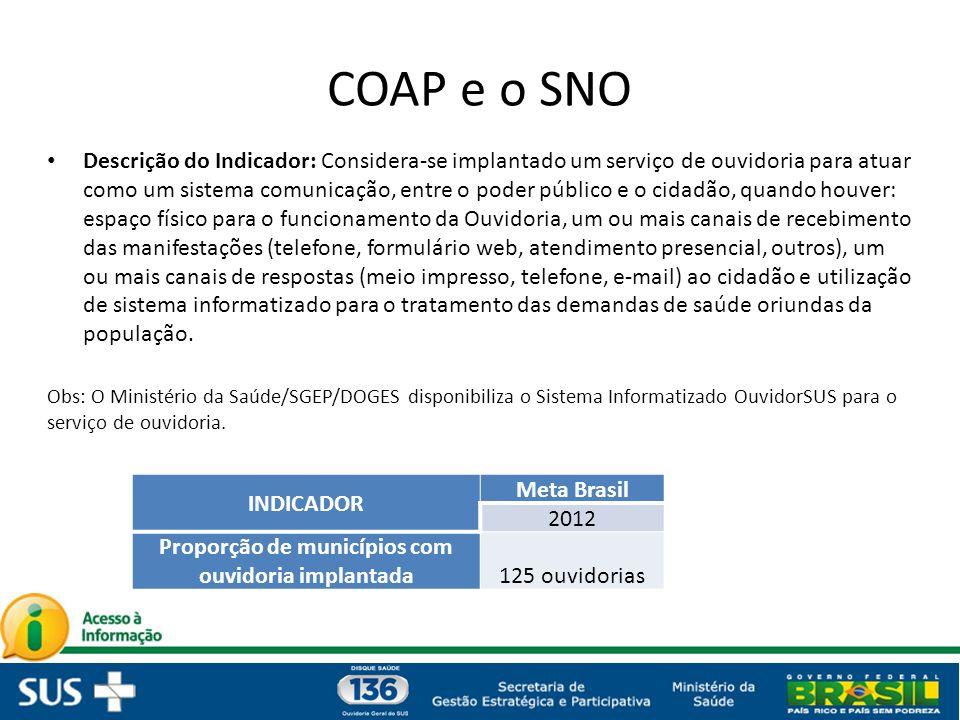 COAP e o SNO Descrição do Indicador: Considera-se implantado um serviço de ouvidoria para atuar como um sistema comunicação, entre o poder público e o