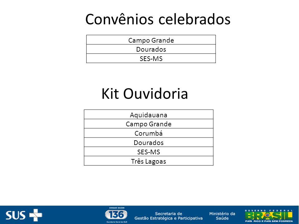 Convênios celebrados Campo Grande Dourados SES-MS Aquidauana Campo Grande Corumbá Dourados SES-MS Três Lagoas Kit Ouvidoria