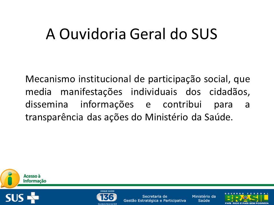 A Ouvidoria Geral do SUS Mecanismo institucional de participação social, que media manifestações individuais dos cidadãos, dissemina informações e con