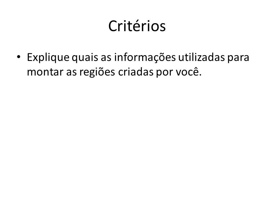 Critérios Explique quais as informações utilizadas para montar as regiões criadas por você.