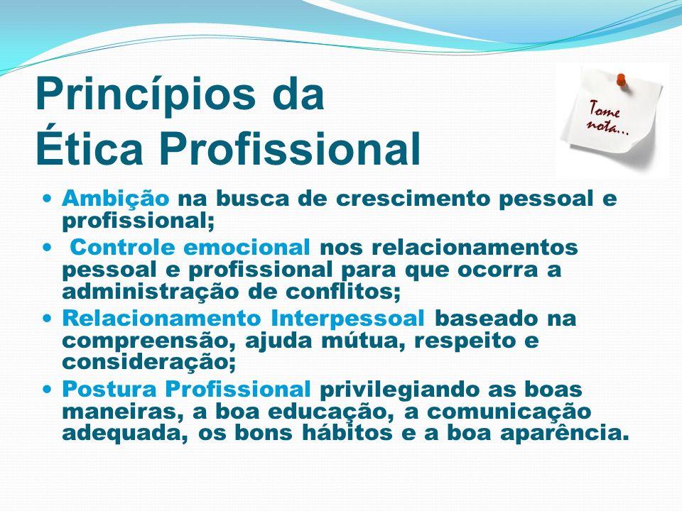 Princípios da Ética Profissional Ambição na busca de crescimento pessoal e profissional; Controle emocional nos relacionamentos pessoal e profissional