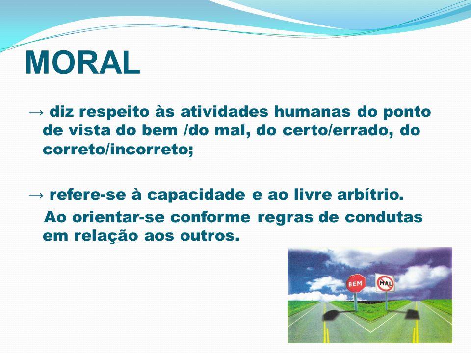 MORAL diz respeito às atividades humanas do ponto de vista do bem /do mal, do certo/errado, do correto/incorreto; refere-se à capacidade e ao livre ar