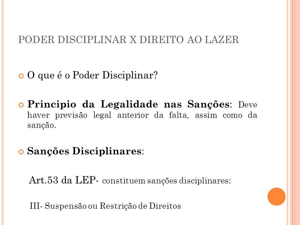 PODER DISCIPLINAR X DIREITO AO LAZER O que é o Poder Disciplinar? Principio da Legalidade nas Sanções : Deve haver previsão legal anterior da falta, a