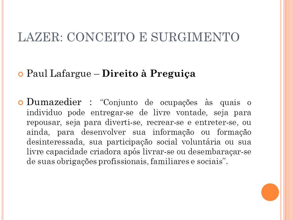 LAZER: CONCEITO E SURGIMENTO Paul Lafargue – Direito à Preguiça Dumazedier : Conjunto de ocupações às quais o individuo pode entregar-se de livre vont