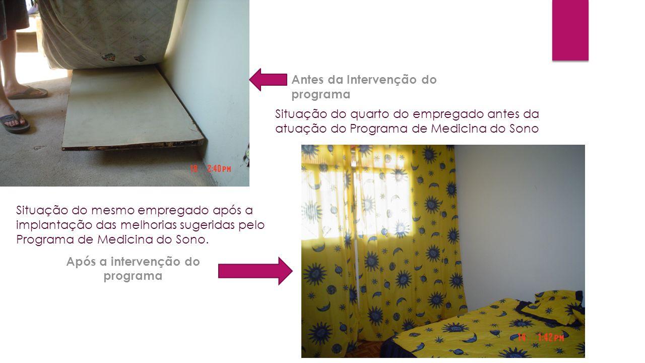 Antes da Intervenção do programa Após a intervenção do programa Situação do quarto do empregado antes da atuação do Programa de Medicina do Sono Situa