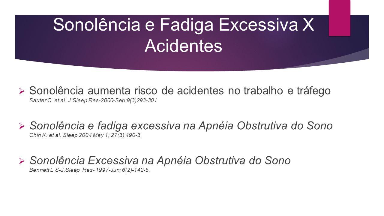 Sonolência e Fadiga Excessiva X Acidentes Sonolência aumenta risco de acidentes no trabalho e tráfego Sauter C. et al. J.Sleep Res-2000-Sep;9(3)293-30