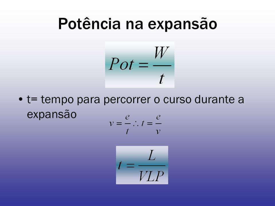 Potência na expansão t= tempo para percorrer o curso durante a expansão