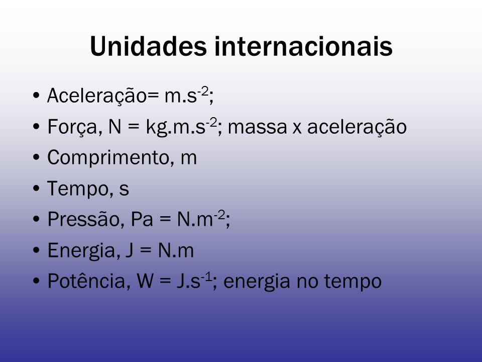 Unidades internacionais Aceleração= m.s -2 ; Força, N = kg.m.s -2 ; massa x aceleração Comprimento, m Tempo, s Pressão, Pa = N.m -2 ; Energia, J = N.m Potência, W = J.s -1 ; energia no tempo