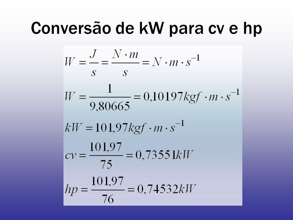 Conversão de kW para cv e hp