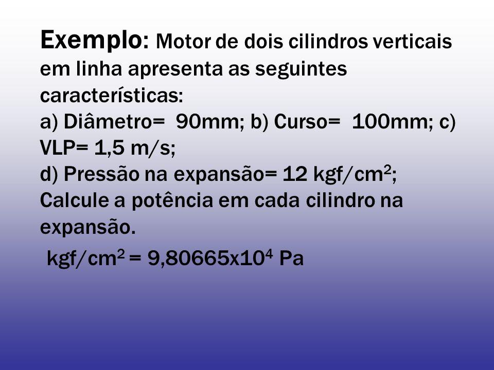Exemplo: Motor de dois cilindros verticais em linha apresenta as seguintes características: a) Diâmetro= 90mm; b) Curso= 100mm; c) VLP= 1,5 m/s; d) Pressão na expansão= 12 kgf/cm 2 ; Calcule a potência em cada cilindro na expansão.