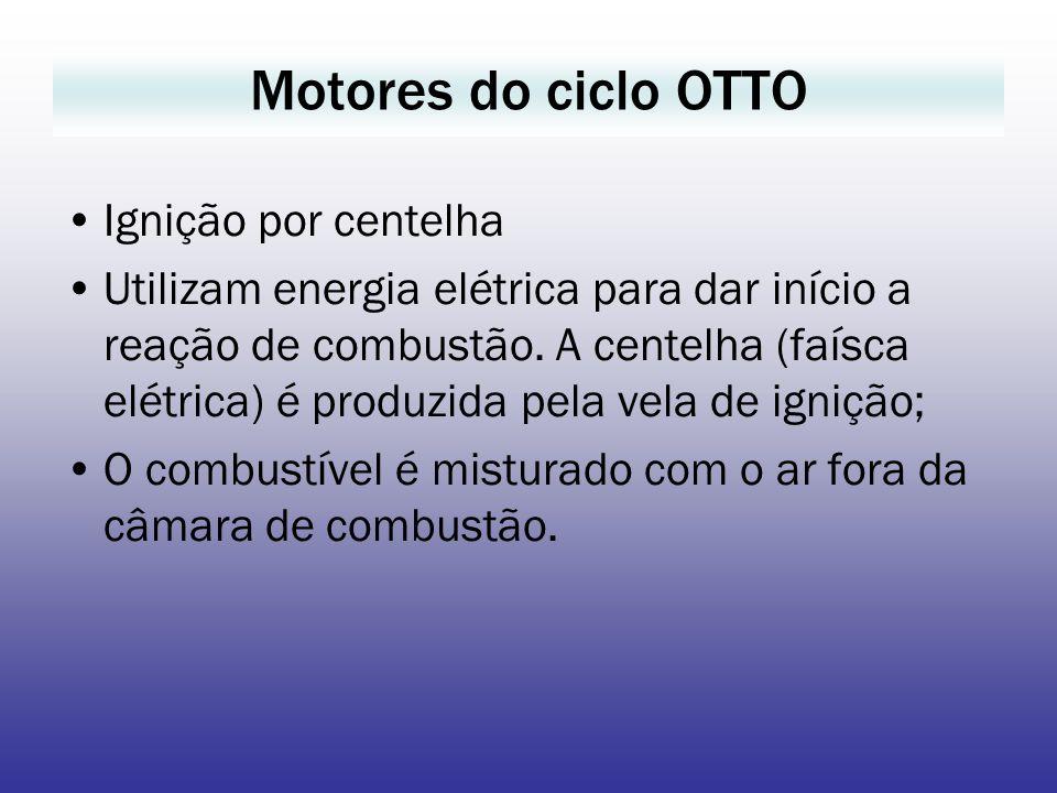 Motores do ciclo OTTO Ignição por centelha Utilizam energia elétrica para dar início a reação de combustão. A centelha (faísca elétrica) é produzida p