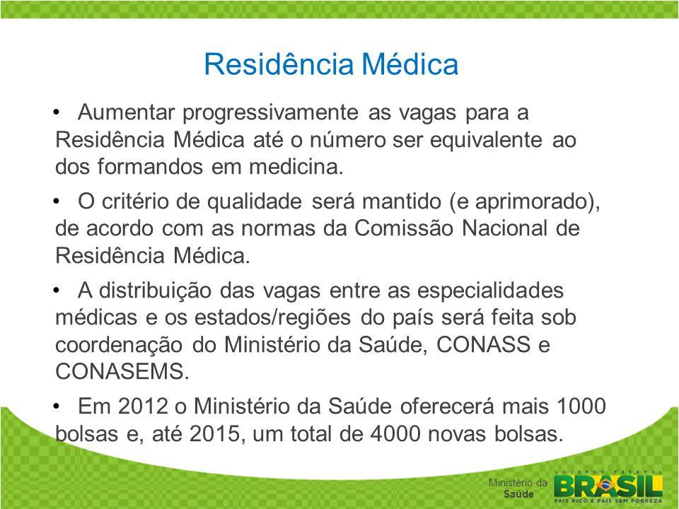 Secretaria de Gestão do Trabalho e da Educação na Saúde Ministério da Saúde Residência Médica Aumentar progressivamente as vagas para a Residência Méd