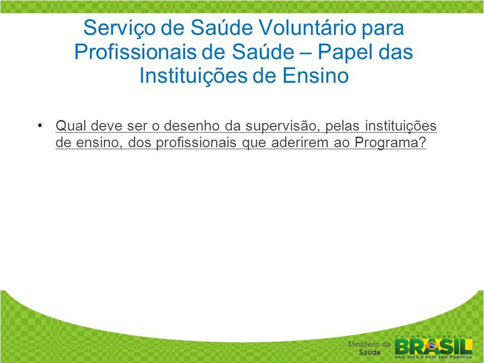 Secretaria de Gestão do Trabalho e da Educação na Saúde Ministério da Saúde Serviço de Saúde Voluntário para Profissionais de Saúde – Papel das Instit