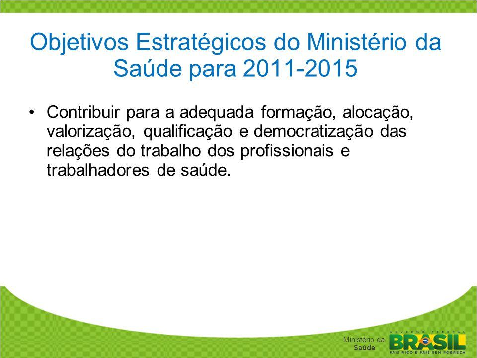 Secretaria de Gestão do Trabalho e da Educação na Saúde Ministério da Saúde Objetivos Estratégicos do Ministério da Saúde para 2011-2015 Contribuir pa