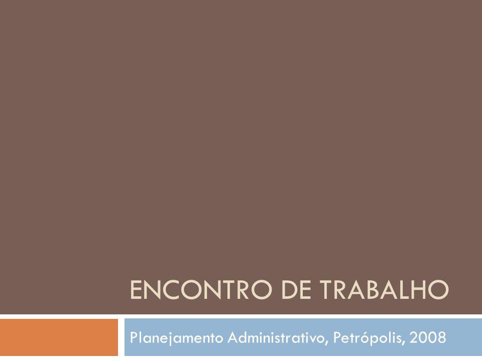 Planejamento estratégico do Iphan Planejamento Administrativo, Petrópolis, 2008 Resumo e principais encaminhamento