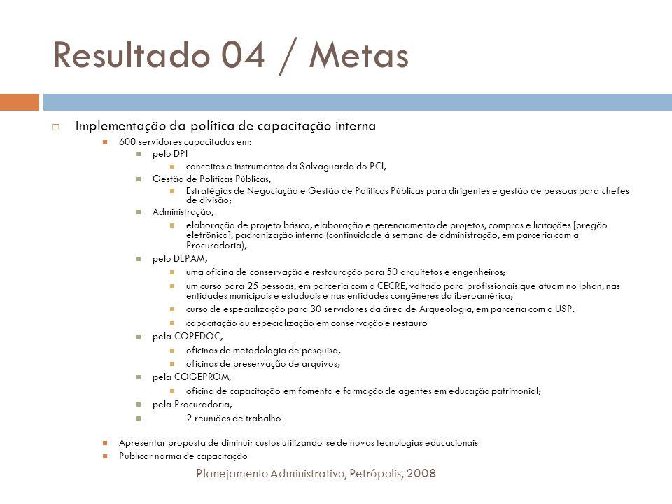 Resultado 04 / Metas Planejamento Administrativo, Petrópolis, 2008 Implementação da política de capacitação interna 600 servidores capacitados em: pel