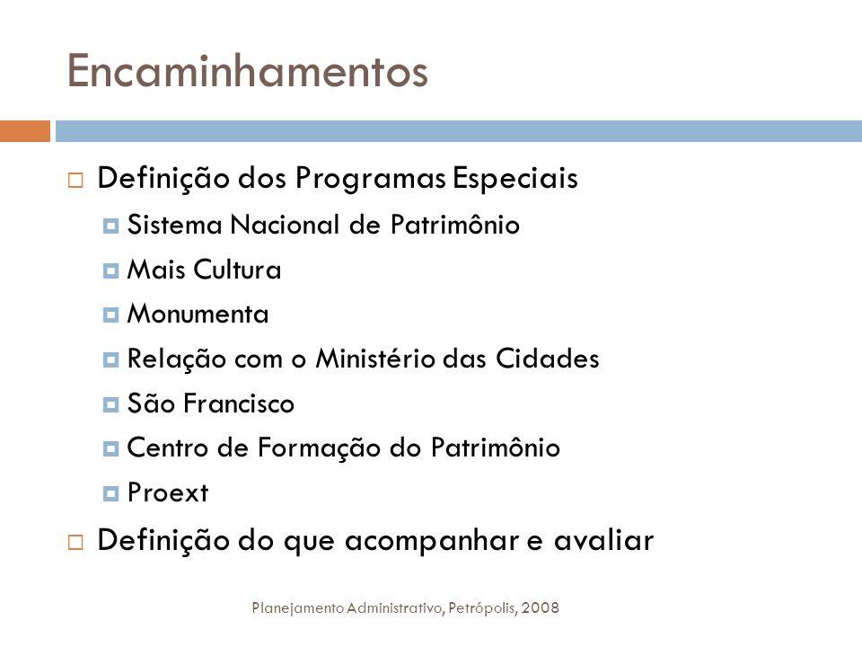 Encaminhamentos Planejamento Administrativo, Petrópolis, 2008 Definição dos Programas Especiais Sistema Nacional de Patrimônio Mais Cultura Monumenta