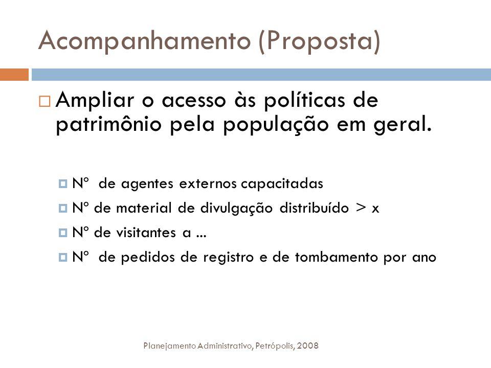 Acompanhamento (Proposta) Planejamento Administrativo, Petrópolis, 2008 Ampliar o acesso às políticas de patrimônio pela população em geral. Nº de age